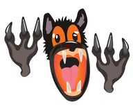 Bared mouth of the wolf on white background Stock Photos