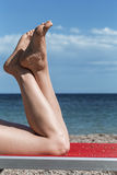Barefeet on a summer background Royalty Free Stock Image