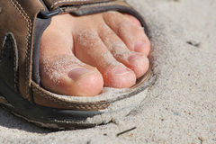 Barefoot. In sandals on a beach stock images