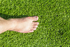 Barefoot on artificial turf Royalty Free Stock Images