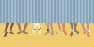 Barefoot on the beach. Set of feet of men and women Royalty Free Stock Images