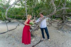 Barefoot Beach wedding at Daaibooi. Anna and Henning - Beach wedding at Daaibooi - Views around Curacao a Caribbean Island stock images