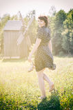 Barefoot beautiful woman. In summeroutdoors Royalty Free Stock Photography