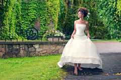 Barefoot bride walks in the park in the rain Stock Photography