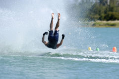 Barefoot crash 2. A barefoot waterskier falls during a jump competition Stock Images