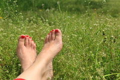 Barefoot female feet on green field Stock Photo