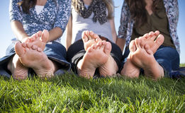 Barefoot Female Feet outdoors Stock Photos