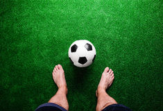 Free Barefoot Football Player Against Green Grass, Studio Shot Royalty Free Stock Photos - 72906008