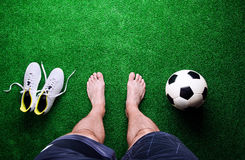 Free Barefoot Football Player Against Green Grass, Studio Shot Royalty Free Stock Photo - 73232355