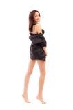 Barefoot girl in black lingerie Royalty Free Stock Photo