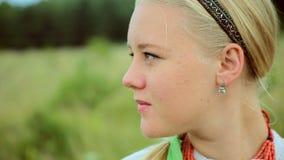 Barefoot Girl Running on Green Field stock video footage