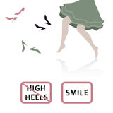 Barefoot girl. Vector flat paper style illustration. Stock Photos