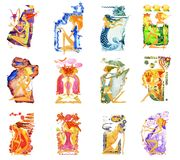 Barefoot girl in a white dress withwith a bow in his hands in the form of an angel of love with wings. Symbol of the. Set of twelve images of barefoot women in vector illustration
