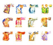 Barefoot girl in a white dress withwith a bow in his hands in the form of an angel of love with wings. Symbol of the. Set of twelve images of barefoot women in stock illustration