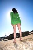 Barefoot green dress woman Royalty Free Stock Photos