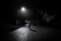 Barefoot Man Empty Road royalty free stock photography