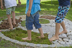 Barefoot in the obstacle course royalty free stock photo