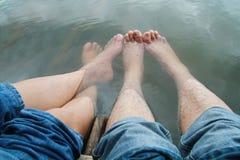 barefoot play water Stock Photos