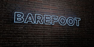 BAREFOOT -Realistic Neon Sign on Brick Wall background - 3D rendered royalty free stock image Stock Photo