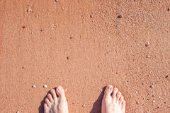 Barefoot on sand Royalty Free Stock Photography