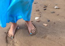 Barefoot in the Sand . stock images