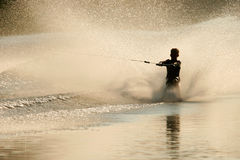 Barefoot skier. Silhouette of a barefoot skier with backlit water spray Royalty Free Stock Photo