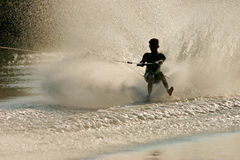 Barefoot skier. Silhouette of a barefoot skier with backlit water spray Stock Image