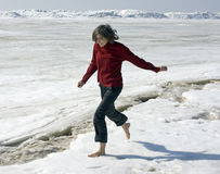Barefoot on a snow Royalty Free Stock Photography