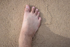 Barefoot walking on the sand In time to relax1 Stock Photography
