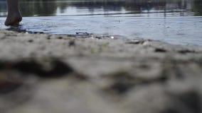 Waters edge steps stock video footage