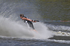 Barefoot Water Skier 01. MS A barefoot water skier skiing backwards at the World Championships Royalty Free Stock Photo