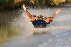 Barefoot water skier Stock Image