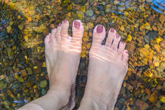 Barefoot in Water. Standing barefoot in ankle deep riverbed Stock Photo
