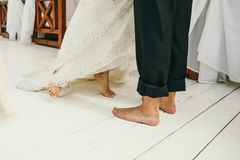 Barefoot Wedding Couple. Happy married couple royalty free stock photos