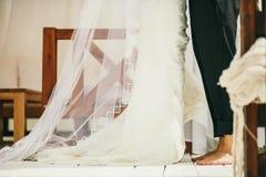 Barefoot Wedding Couple. Happy married couple stock image