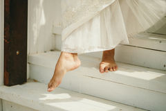 Barefoot Wedding Couple royalty free stock images
