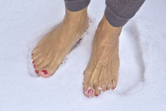 Barefoot woman. Woman standing barefoot in fresh snow stock images