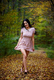 Barefoot woman in the forest Stock Photography