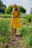 Barefoot woman with  hat grub weed in garden Stock Photos