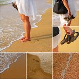 Barefoot woman standing on seashore with handbag and flip-flops in hands Royalty Free Stock Photo