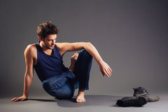 Barefoot Young Man Stock Images
