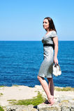 Barefoot young woman Royalty Free Stock Images