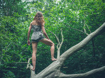 Barefoot young woman standing on fallen tree Royalty Free Stock Image