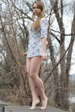 Barefooted Pretty Blonde Stock Images