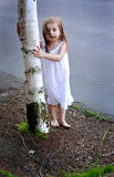 Barefooted Toddler by Tree Royalty Free Stock Image