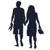 Barefoots di camminata degli amanti Immagini Stock