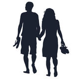 Barefoots que caminan de los amantes Imagenes de archivo