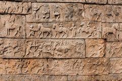 Bareliefs antigos no templo, Hampi, Karnataka, Índia Imagens de Stock Royalty Free