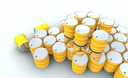 Barells. Illustration of yellow barrels in 3D stock images