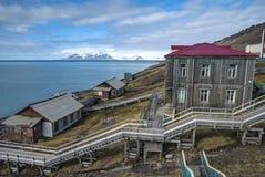 Barentsburg地平线,俄国解决在斯瓦尔巴特群岛,挪威 库存照片